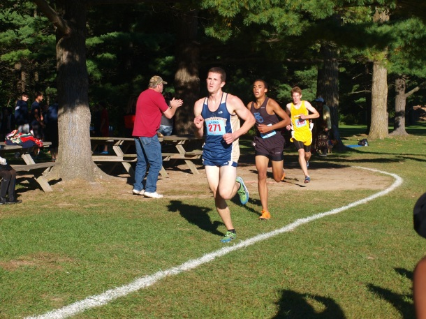 Senior Eric Boyle races during the league meet at Kensington Metro Part Oct. 5. Boyle took home third  place.