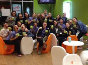 The girl's varsity swim team enjoys free frozen yogurt after winning the league finals. Photo Credit to Katie Marciniak.
