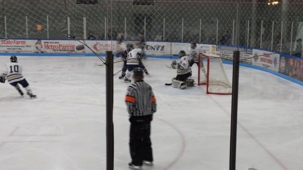 Stoney Creek Varsity Hockey vs Berkley where Junior Matt Wojno defends his goal