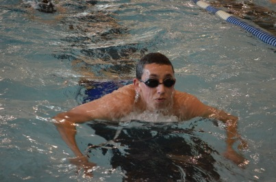 Close up of swimmer during warm ups.