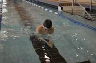 Swimmer submerging under water.