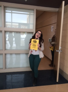 Junior Anna Birmingham receives her invitation to perform at Cougar Idol. The show takes place on March 28. Photo by Chase Heinemann.