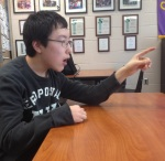 AP Language student and debater Simon Sun making his point.