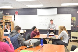 Lions beat writer Dave Birkett speaks to the class. He talked about his career, as well as how to get into journalism.